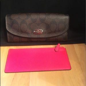 Coach signature snap wallet + neon zip Case set